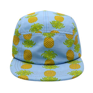 Wholesale Custom Irregular Full Printed Camp Hat 5 Panel Pineapple Pattern Camp Cap