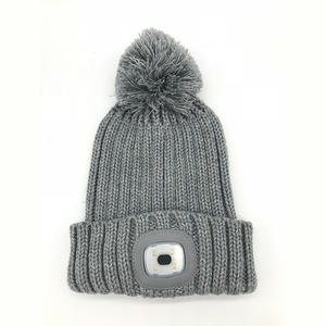 good quality new design plain led light woven beanie manufacturers discount