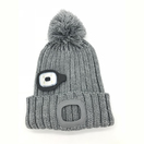 High quality plain led light woven beanie with pompom