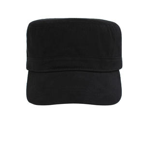 OEM Wholesale Plain Black Flat Top Cap Military Hats