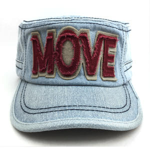 wholesale promotional new design denim flat top military cap exporters