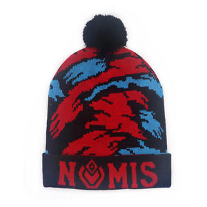 OEM fashion Custom Jacquard Weave Design Knitted Beanie Hat