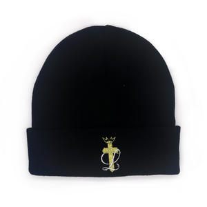 wholesale Black Acrylic Golden Flat Embroidery Logo Beanie Hats suppliers