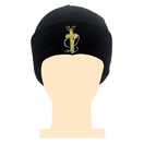 Black Acrylic Golden Flat Embroidery Logo Beanie Hats