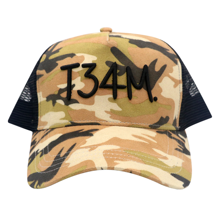 Wholesale Camo Custom trucker hat with high quality custom embroidery logo