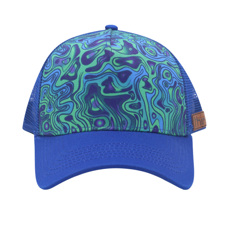 custom leather patch mesh cap sublimation trucker cap