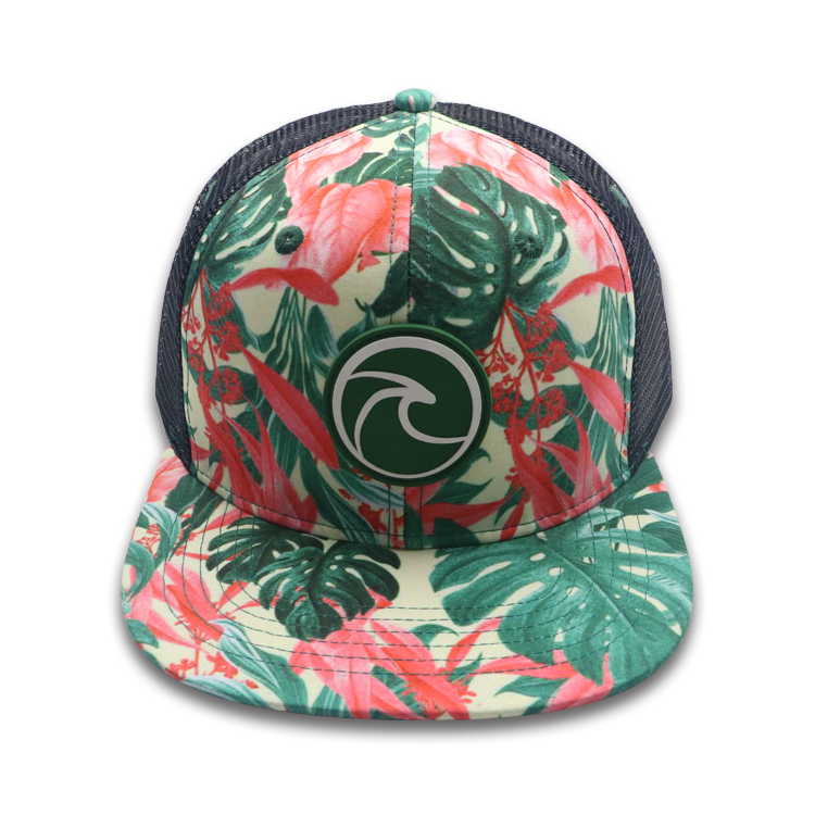 6 panel sublimation printing snapback cap , rubber snapback cap with mesh , Made in china