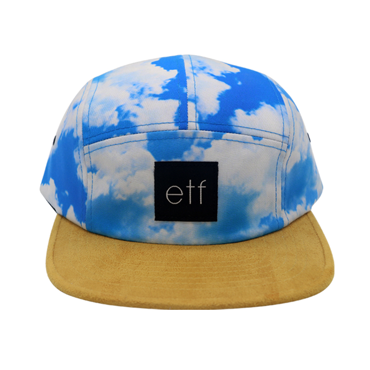 Sublimation Printing 5 Panel Hat with Woven Strap