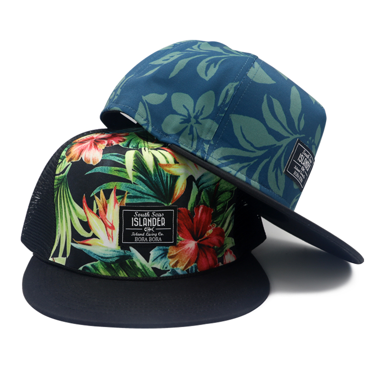 5 panel custom sublimation printing logo flat brim snapback trucker hats