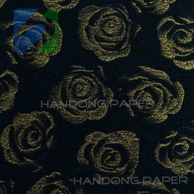 Black gold rose pattern domestic pearly paper/embossed paper