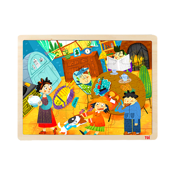 TOI Classic Wooden Puzzles My Family Educational Toy Jigsaw Puzzle For Children Aged 3+