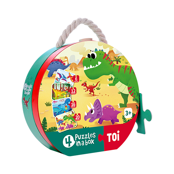 TOI 4 Puzzles In A Box Dinosaur Paper Jigsaw Puzzle Educational Toy For Kids