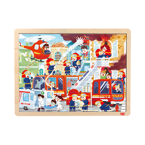 TOI Classic Puzzle Urban Fire 100pcs Wooden Jigsaw Puzzle With Storage Tray Educational Toy For Kids