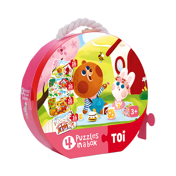 TOI 4 Puzzles In A Box Season Paper Jigsaw Puzzle Educational Toy For Kids