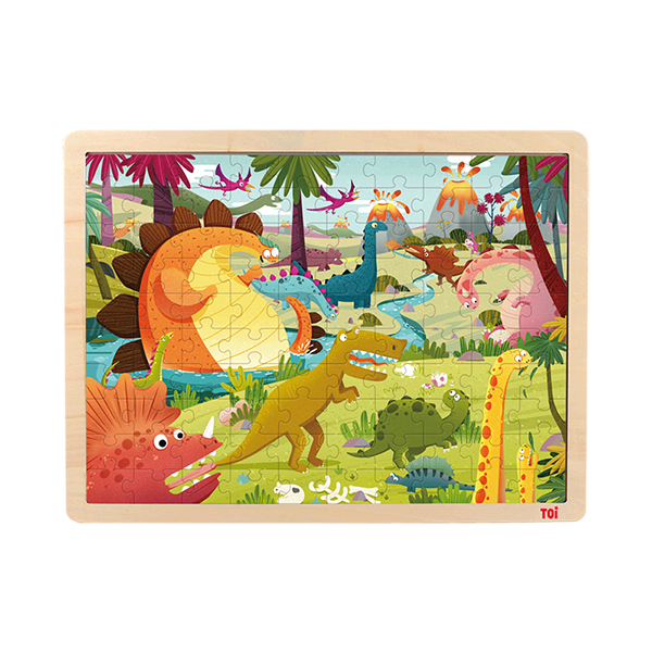 TOI Classic Wooden Jigsaw Puzzle Dino Land 100pcs Puzzle With Storage Tray Educational Toy For Kids