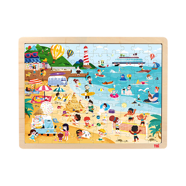 TOI Classic Wooden Jigsaw Puzzle Beach 100pcs Puzzle With Storage Tray Educational Toy For Kids