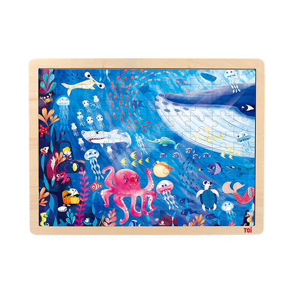 TOI Classic Puzzle Under The Sea 100pcs Wooden Jigsaw Puzzle With Storage Tray Educational Toy For Kids
