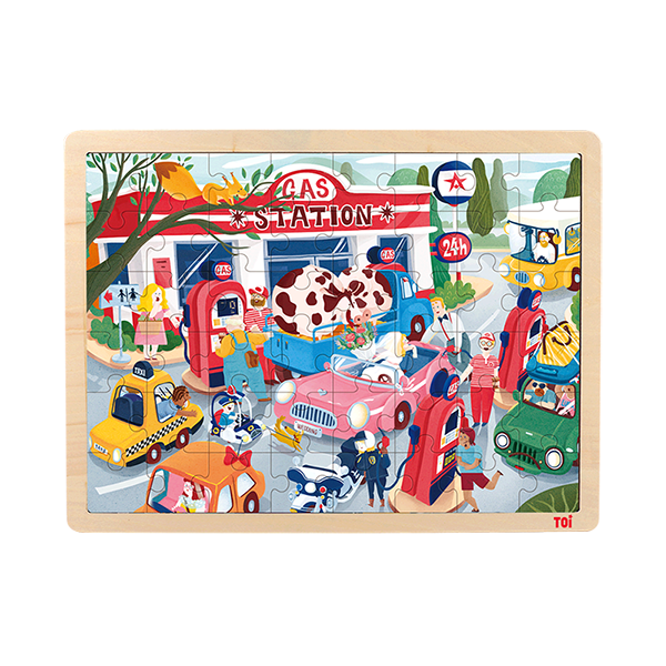 TOI Classic Puzzle Gas Station 48pcs Wooden Jigsaw Puzzle With Storage Tray Educational Toy For Kids