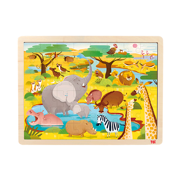 TOI Classic Puzzle Savannah 48pcs Wooden Jigsaw Puzzle With Storage Tray Educational Toy For Kids