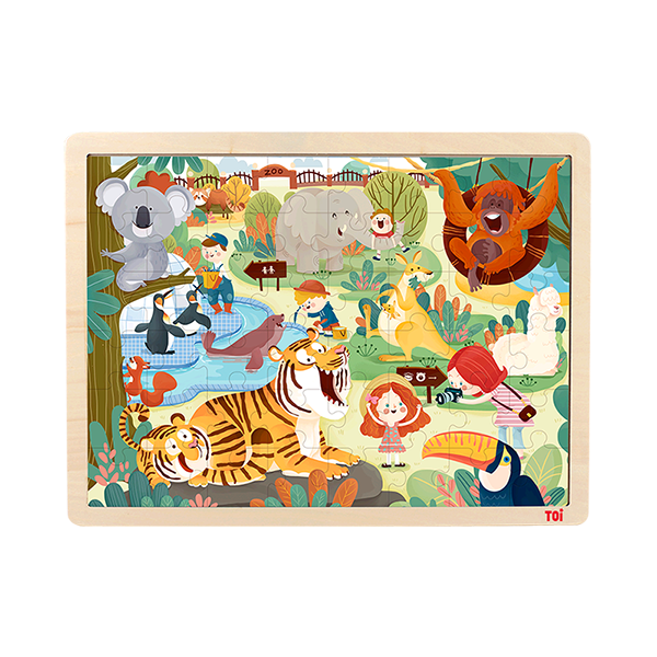 TOI Classic Puzzle Zoo 48pcs Wooden Jigsaw Puzzle With Storage Tray Educational Toy For Kids