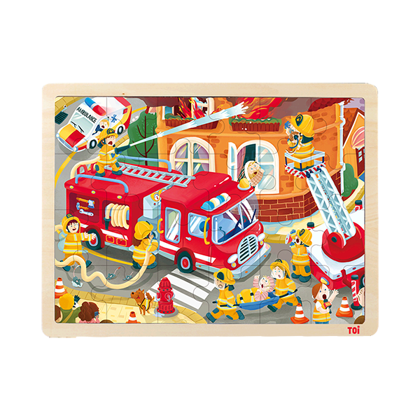 TOI Classic Puzzle Fire Engine 24pcs Wooden Jigsaw Puzzle With Storage Tray Educational Toy For Kids