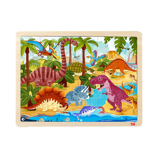TOI Classic Wooden Puzzle Dinosaur 24pcs Jigsaw Puzzle With Storage Tray Educational Toy For Kids