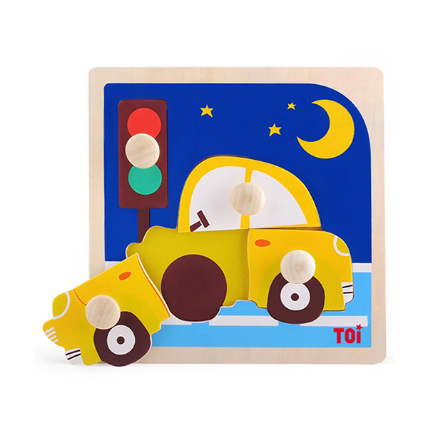TOI Early Education Peg Puzzle Car 4pcs Wooden Puzzle With Storage Tray Educational Toy For 0-3 Years