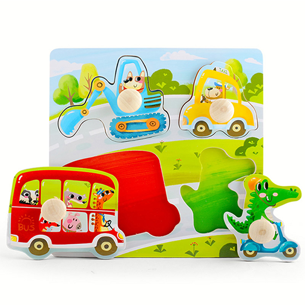 TOI Early Education Peg Puzzle Transport 4pcs Wooden Puzzle With Storage Tray Educational Toy For 0-3 Years