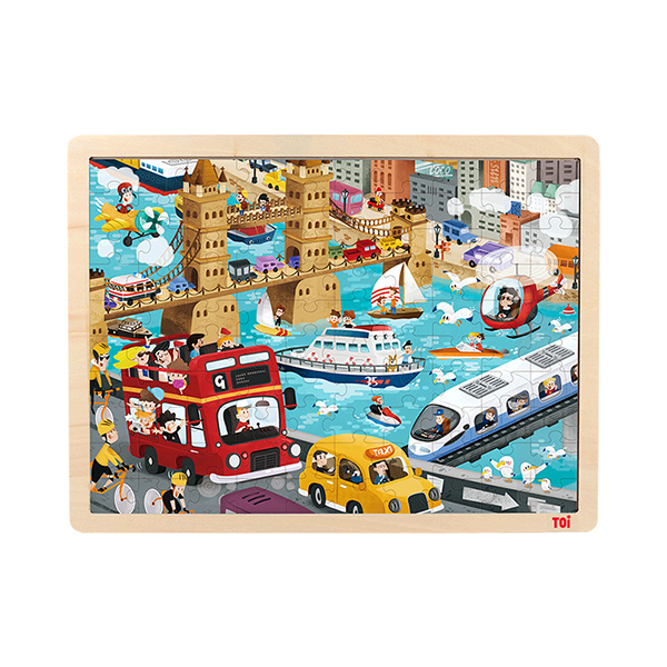 TOI Classic Puzzle Urban Transport 100pcs Wooden Jigsaw Puzzle With Storage Tray Educational Toy For Kids