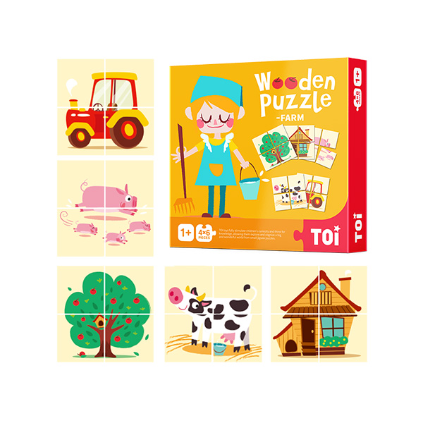 TOI Early Childhood Colmar Series Farm 24pcs Wooden Puzzle With Storage Tray Educational Toy For 0-3 Years