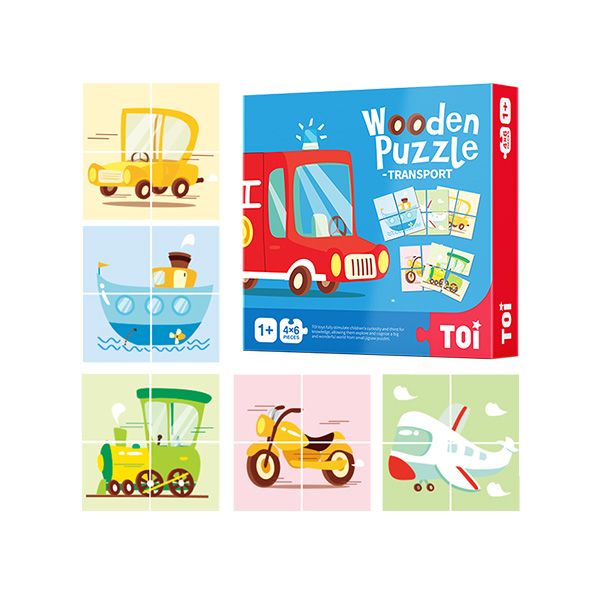 TOI Early Childhood Colmar Series Transport 24pcs Wooden Puzzle With Storage Tray Educational Toy For 0-3 Years