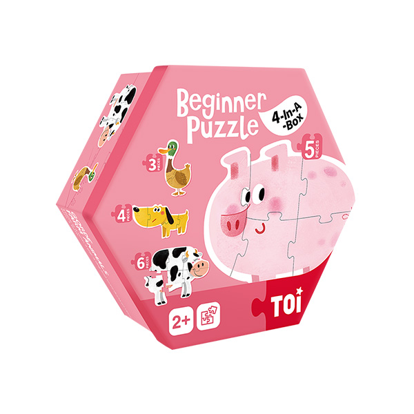 Farm Animals 4-in-1 Box Jigsaw Paper Puzzle Games