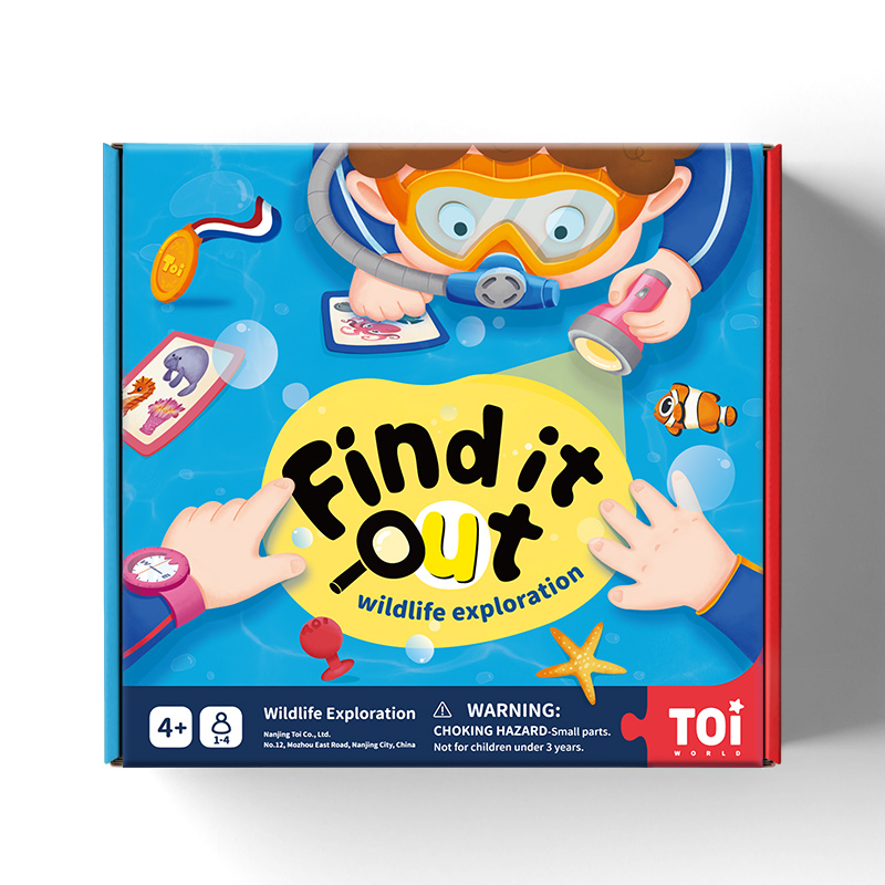 TOI New Arrival  Find It Out With A Small Flashlight Series Wildlife exploration Board Game For Kids