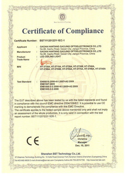 CE 1 certification of led ceiling light