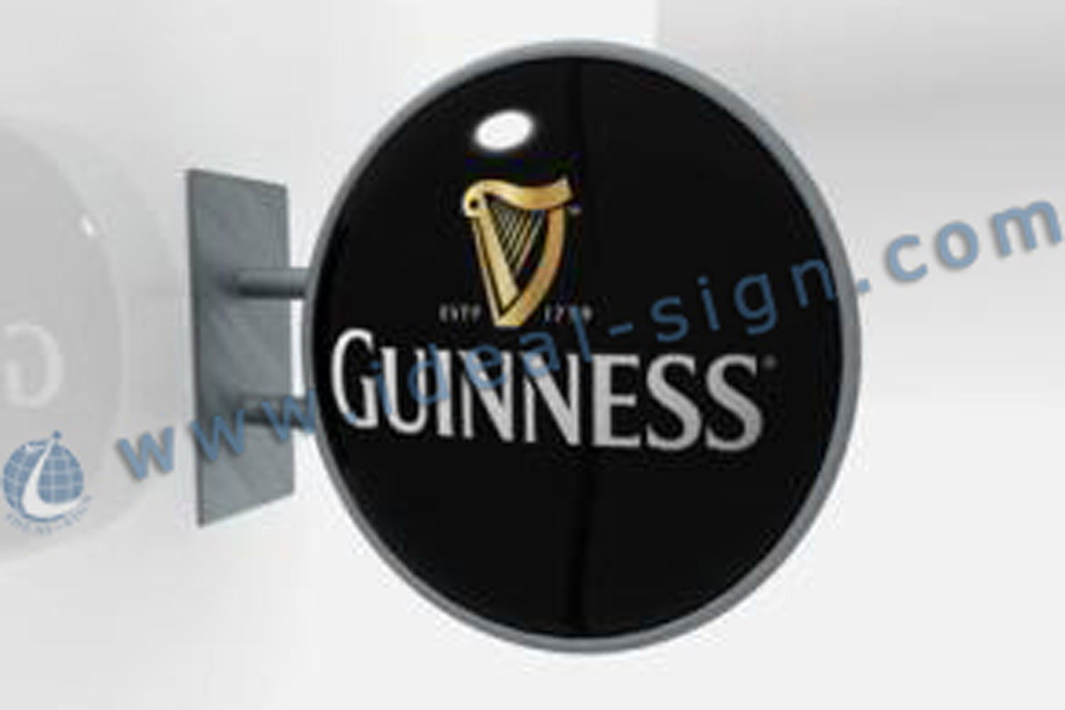 Round Guniness Vacuum Formed Light Box Exterior Wall Mounted Sign