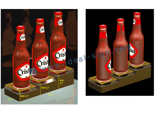 3- bottle Acrylic Liquor Bottle Display