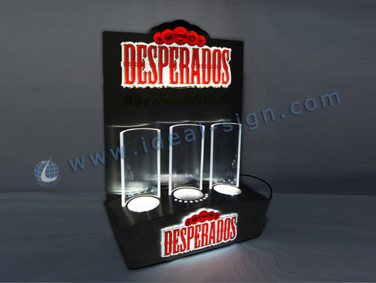 Metal Acrylic LED Lighted Liquor Bottle Display