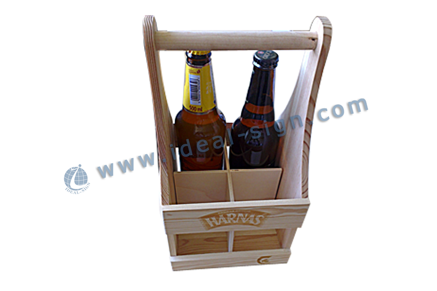 Hand-held 4 bottle wooden wine box