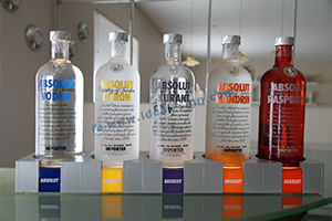 5 bottles liquor bottle display shelf for absolut vodka