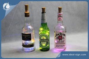 Custom Glass Bottle Lights in various Leds colors for decoration at home, bars, and night club