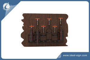 Dual Cedar Wood Wall Mounted Beer Wine Bottle Holder Rack For Home And Bar Decor