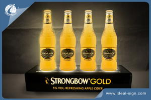 Strongbow Gold Four Seater Acrylic LED Lighted Liquor Bottle Display