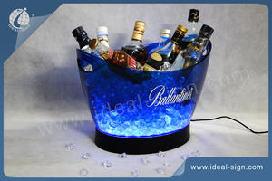 12L PS Champagne Big Light Up Led Balde De Gelo No Bar
