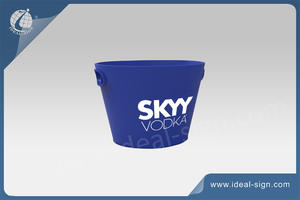 Large Plastic Colored/ Blue Oval Ice Bucket