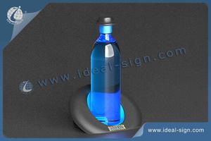 LED Acrylique Lighted Liquor Bouteille D'affichage Du Courtier Avec Inclined Shape Hat