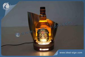 Stainless Steel LED Lighted Liquor Bottle Display