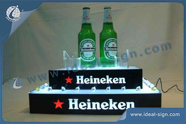 Custom made led tiered bottle display lighted liquor display