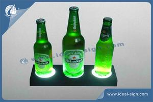 LED Display Acrílico Botella Del Licor Permanente / Caso De Inyección De Plástico PS Glorificador
