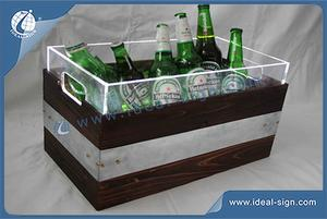 Retro Style Double Layer Wooden Illuminated Ice Bucket 45 * 25 * 25 CM