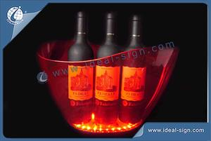 5L Color Changing Wave Edged Design ABS LED Ice Bucket For Wine